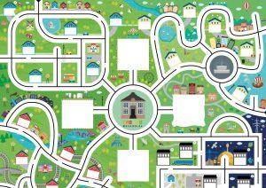 kort over by med veje til ozobots