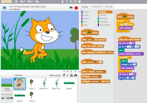 skærmdump fra scratcprogram der viser kat der kan programmeres