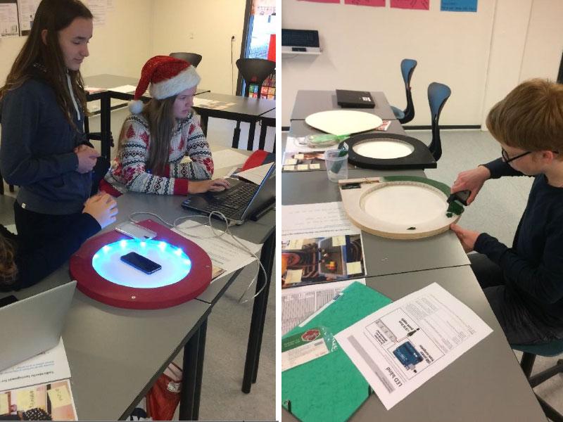 elever laver projekter med LEDbånd