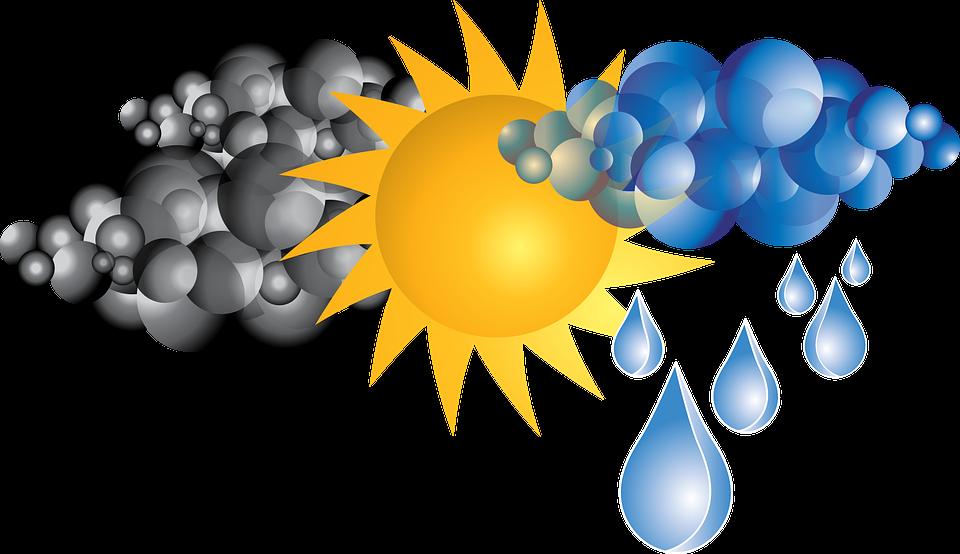 regnskyer og sol