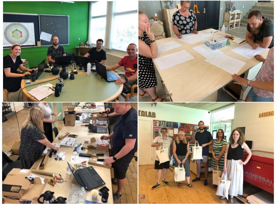 Collage på fire billeder af voksne undervisere i arbejdende grupper
