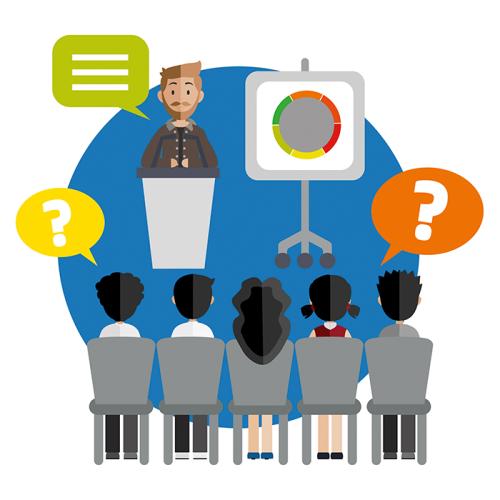 Konference-deltager lytter til mand på talerstol