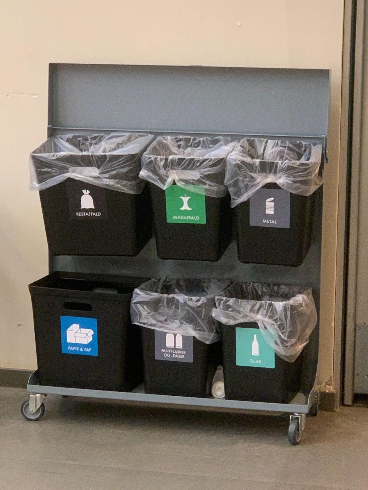 Affaldssorteringssystem med seks spande til forskellige typer affald