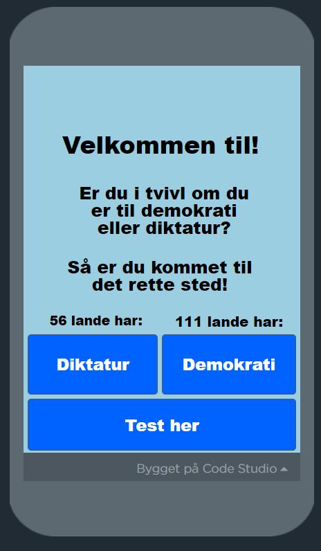 Skærmbillede fra app om demokrati eller diktatur