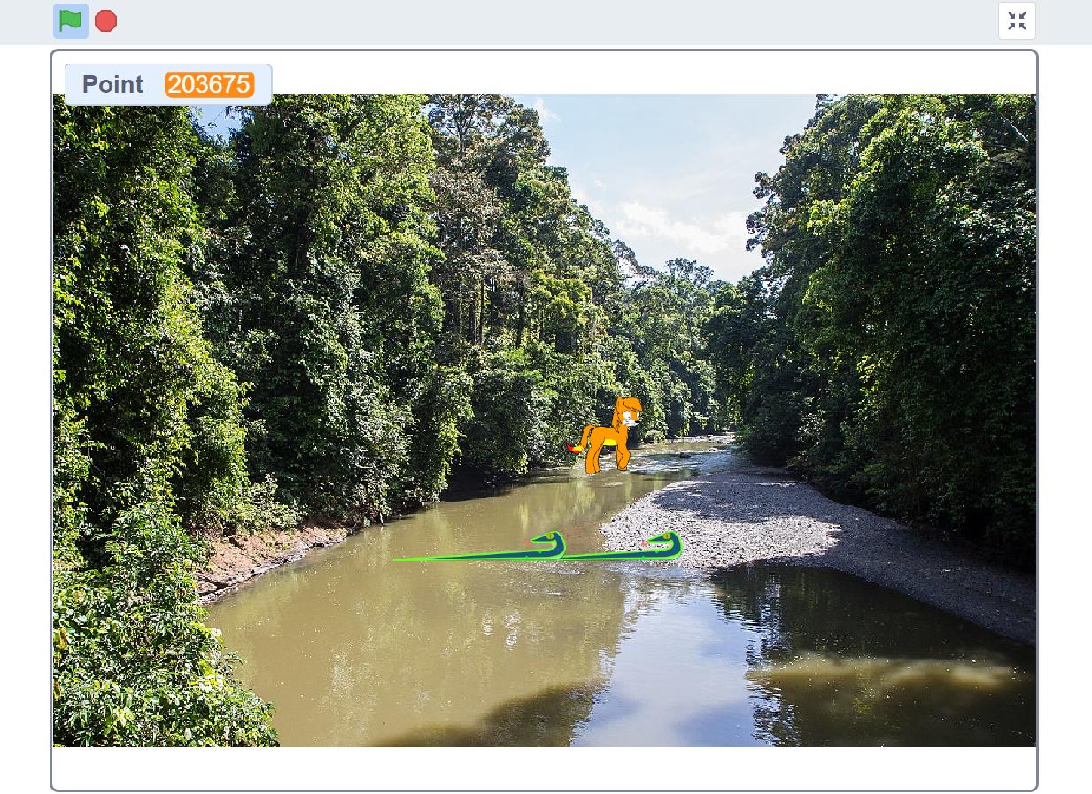 Skærmbillede fra computerspil skabt i Scratch