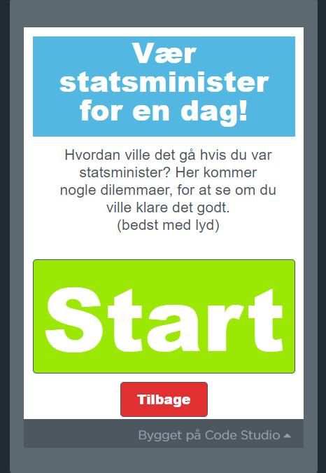 Skærmbillede fra App om at være statsminister