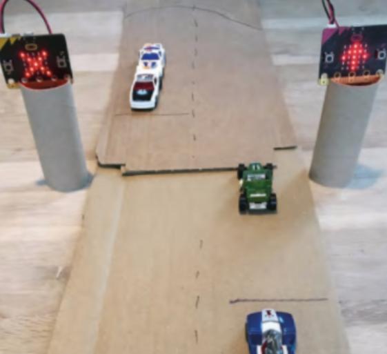 Mockup i pap og microbit - styring af trafikken
