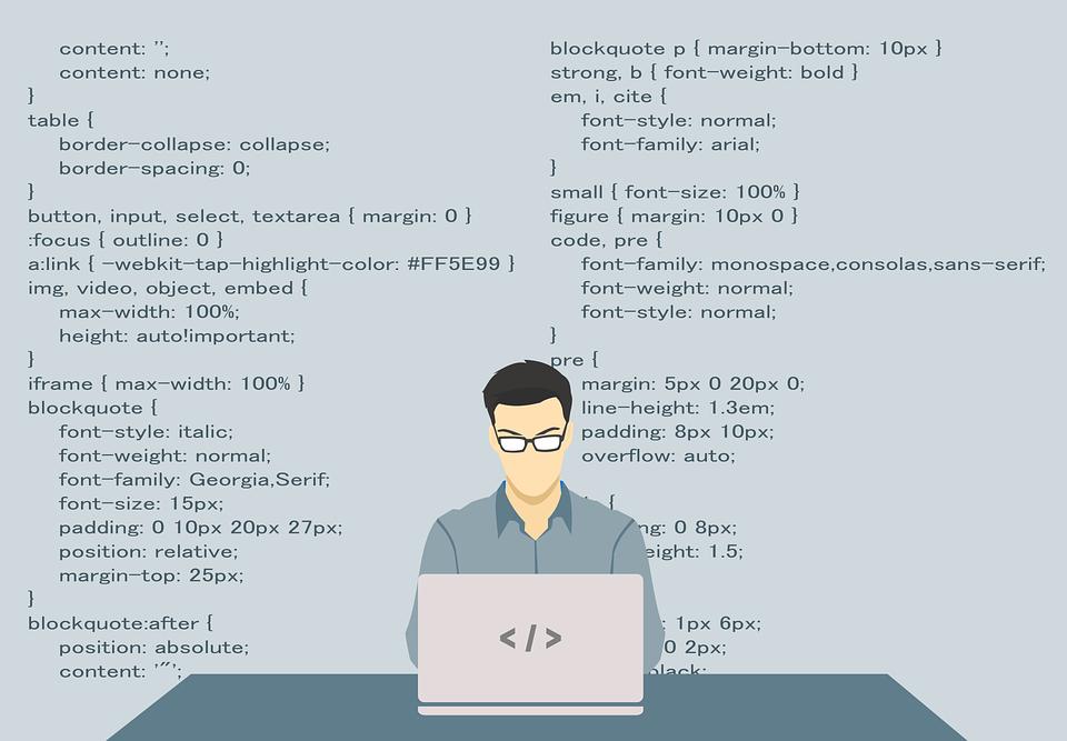Illustration af mand, der sidder ved computer og programmerer