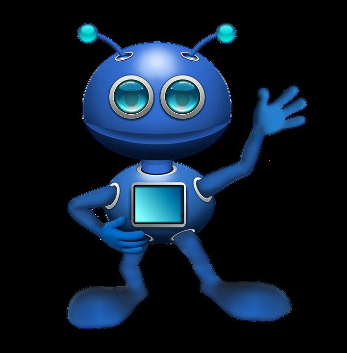 Blå robot, der vinker