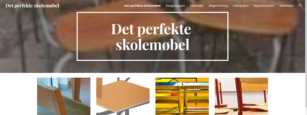 Sceendump fra website om at designe det perfekte møbel