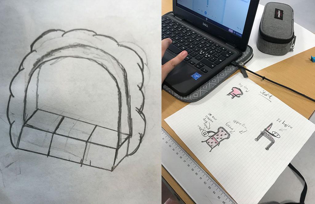 blyantsskitse af møbeldesign samt eksempel på skitse ført ind på bærbarcomputer i tegneprogram og printet ud