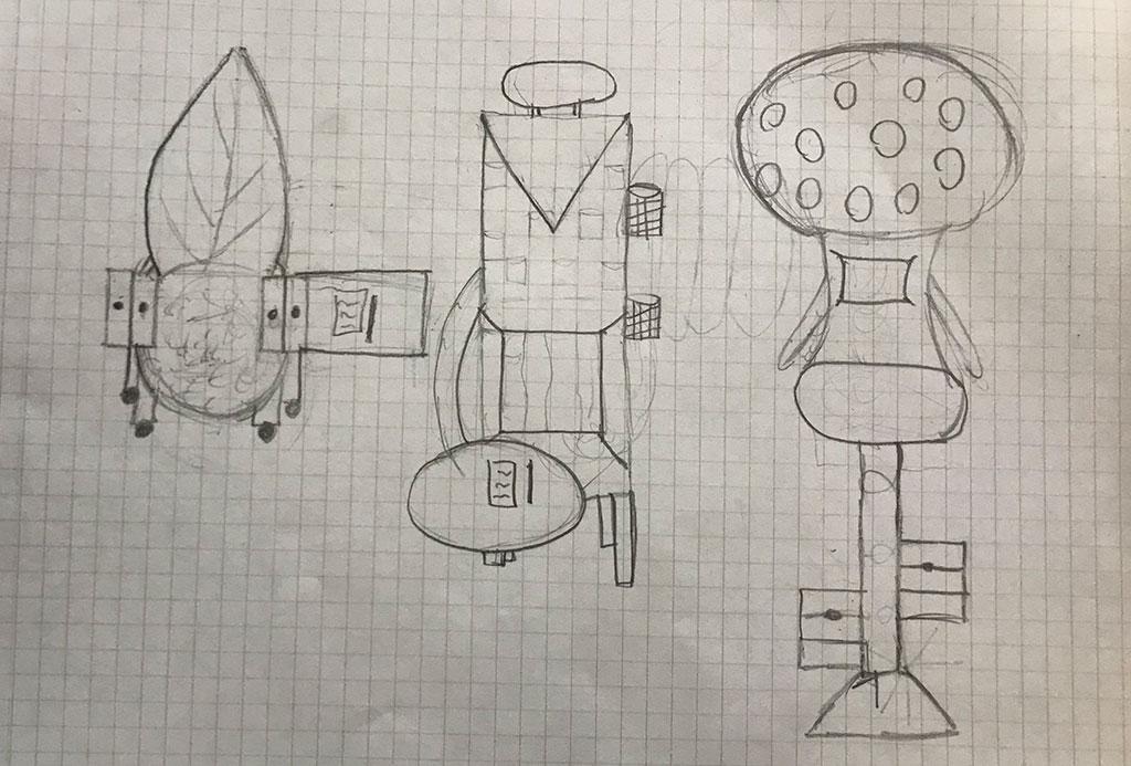 Blyantsskitser af møbler