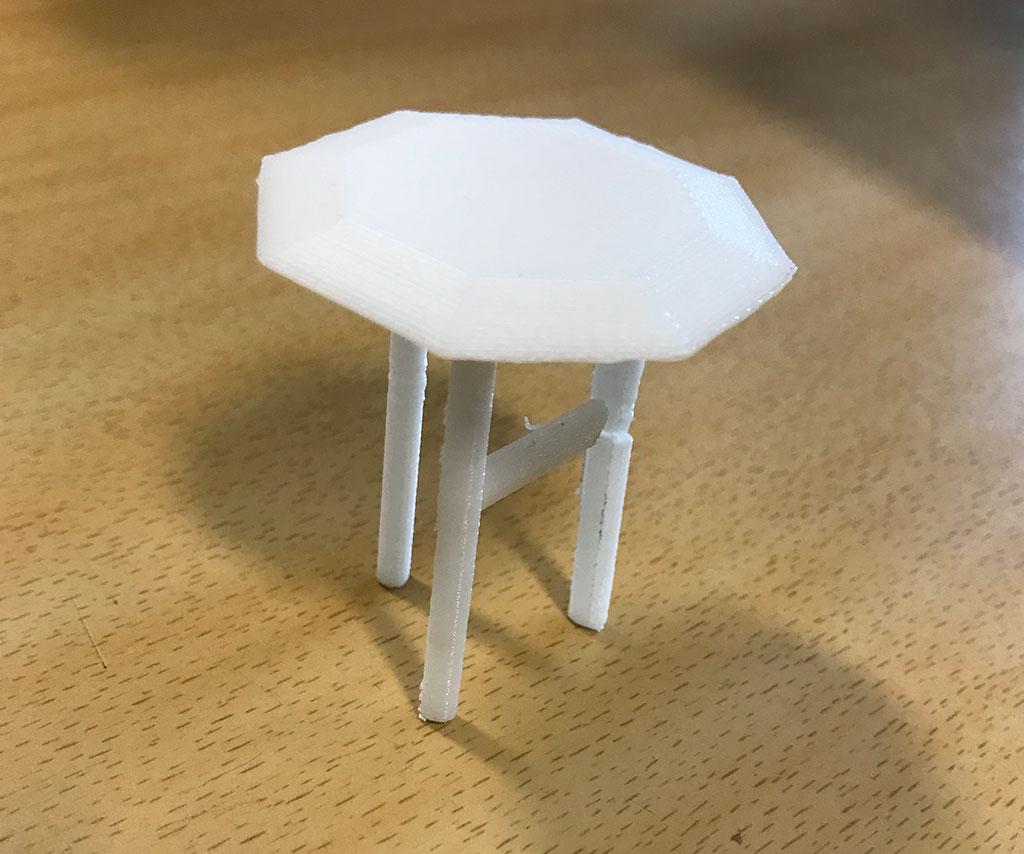 3D printet bord i miniformat