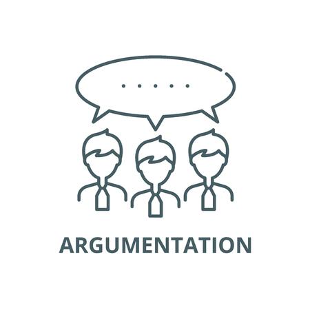 Illustration af argumentation. Tre mennesker og en taleboble med teksten ARGUMENTATION nedenunder.