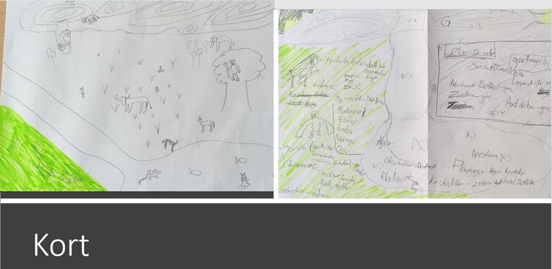 Elevers skitser på A3, hvor de tegner og beskriver, hvordan en habitat kan se ud.