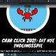 Illustration af forsiden til et et computerspil: Crab Click 2021: Dit nye yndlingsspil