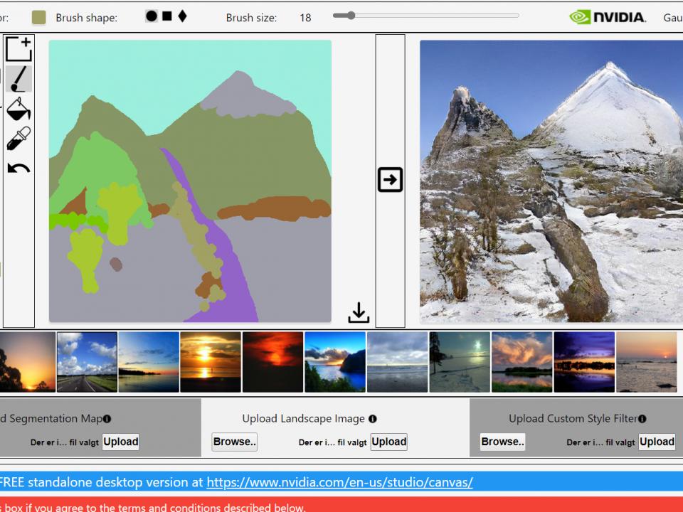 Skærmbillede af programmet GauGAN, hvor der er tegnet to bjergtoppe i venstre side og programmet har ud fra tegningen genereret et naturalistisk foto af bjergene