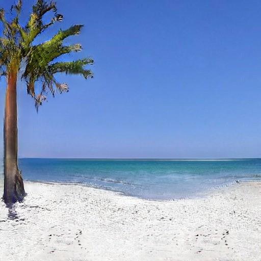 Computer-genereret foto af en strand med sand, vand, himmel og en palme.