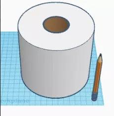 Toiletrulle modelleret i et 3D tegneprogram