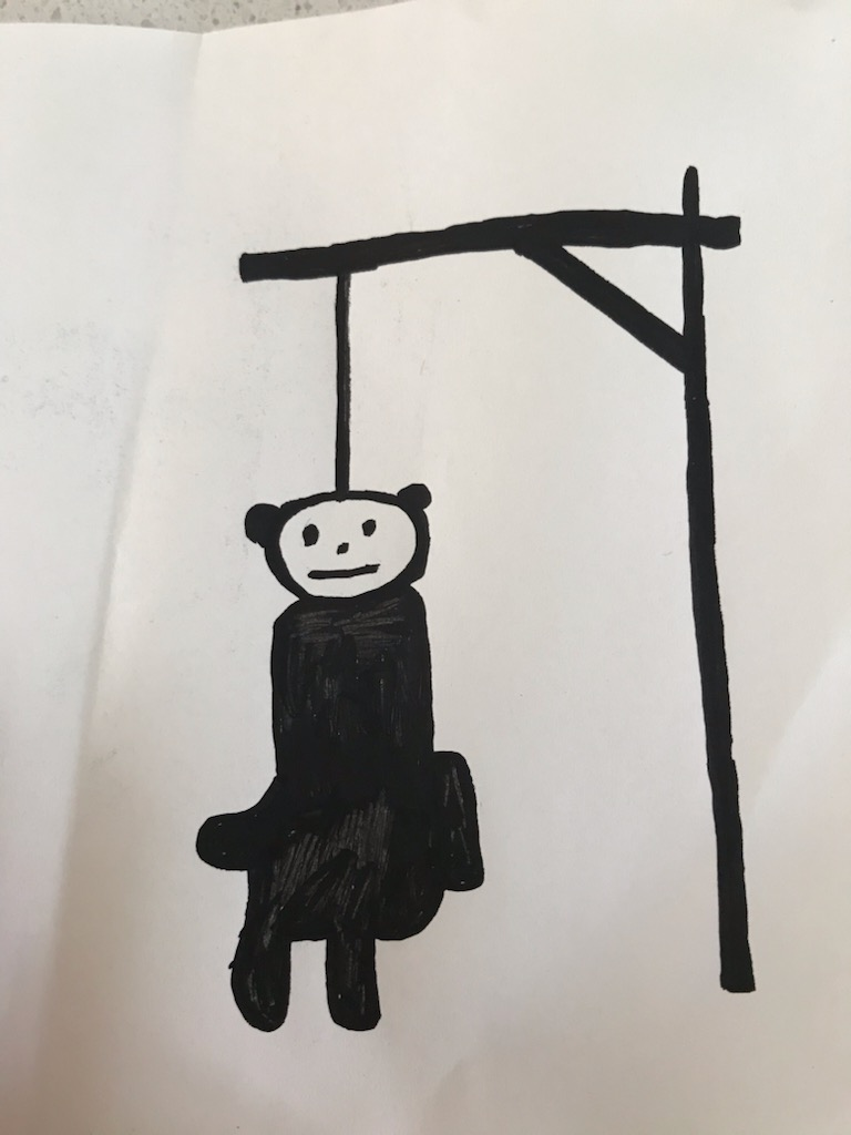 Arbejdstegning til skilt: Bamse der hænger i en galge