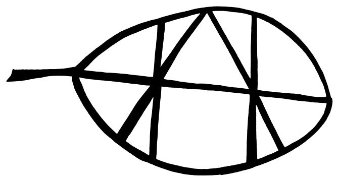 Tegning af bogstaverne A og H i et blad