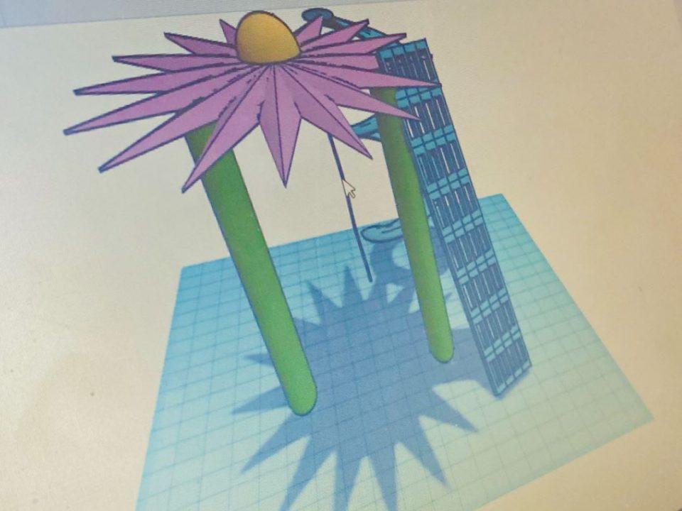 Digital 3D tegning af et legeredskab til en skolegård - design forslag udarbejdet af elever. Titel: Blomstergyngen