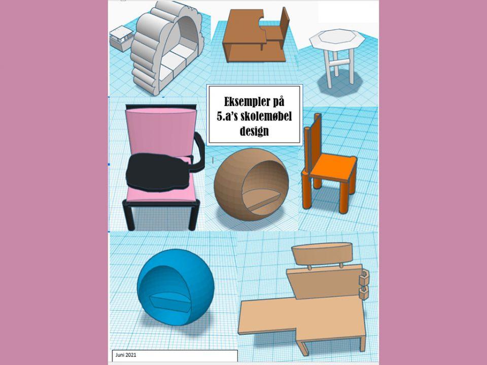 Collage med 3D møbler designet i 3D program