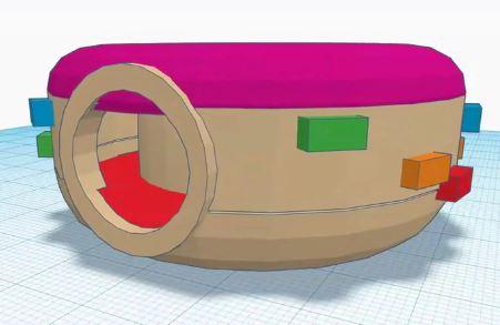 3D tegning af en trampolin udformet som en donut. Trampolinens dele er markeret i forskellige farver.