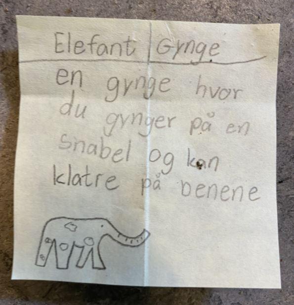 Håndtegning og beskrivelse af en ide til et legeredskab - en elefantgynge