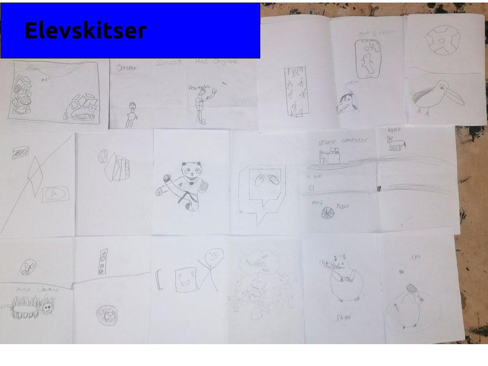 Håndtegnede skitser af elevernes idégenerering