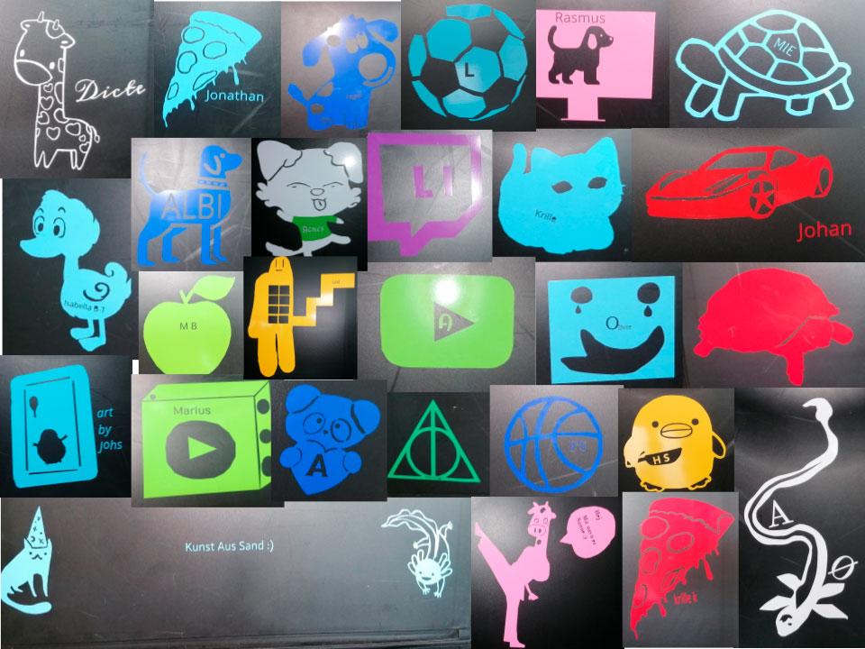 Elevernes færdig logoer opsat samlet i en billedcollage