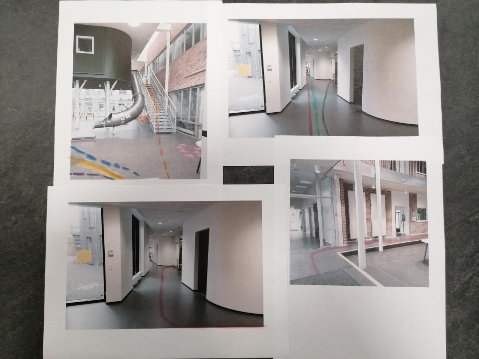 Collage af billeder fra gangarealet på en skole