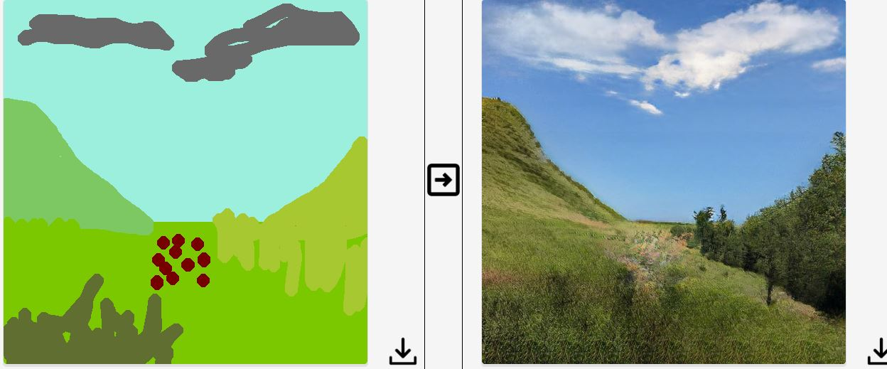 Skærmbillede af programmet GauGAN, hvor man tegner i et digitalt tegneprogram, som så genererer et naturalistisk foto ud fra tegningen. Der er tegnet en bakke med bevoksning, himmel og skyer