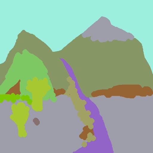 Digital tegning af to bjergtoppe i programmet GauGan