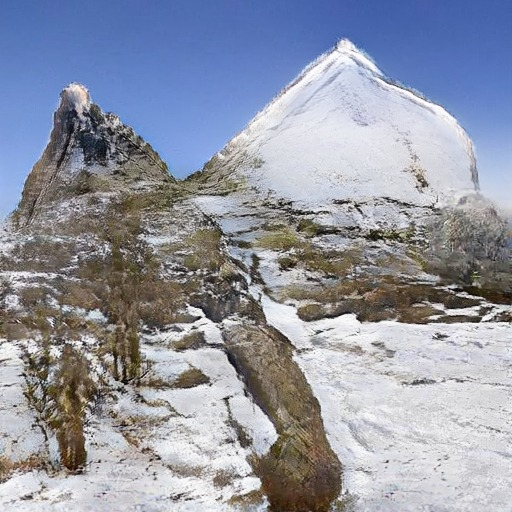 Naturalistisk foto af to bjergtoppe genereret i programmet GauGan ud fra en tegning