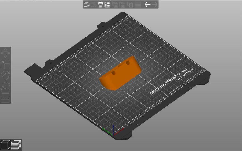 3D billede af plade og orange udprintet trekantet dims.