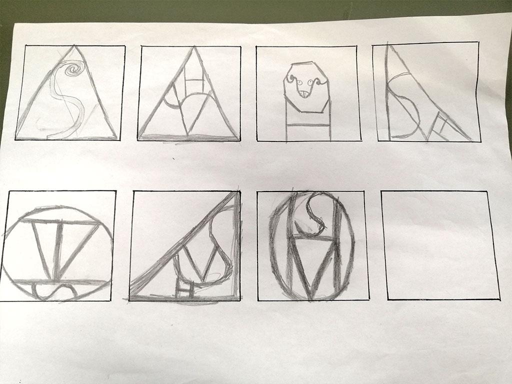 A4 med tegninger af logoer i små firkanter