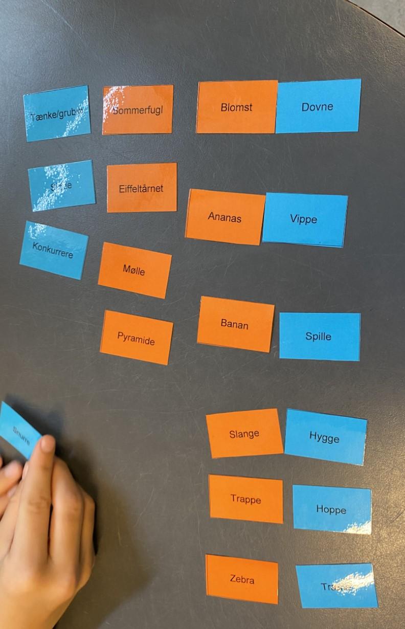 Idegenereringsøvelse hvor elever kombinerer navneord og udsagnsord for at skabe nye ideer. Der er hhv orange og blå kort med de to ordklasser.