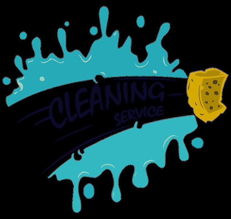 et blåt udsplat, hvor svampt tører en hvid bane igennem og firmaet navn Cleaning Service bliver skrevet.