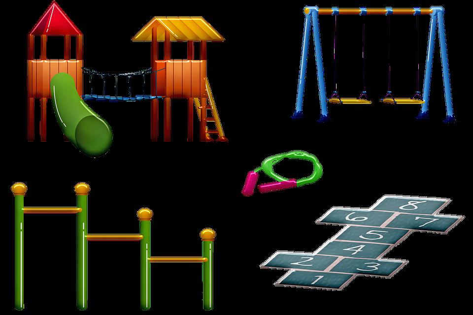 Tegning af forskellige legereskaber: Legetårn, gynge, hinkerude, sjippetov