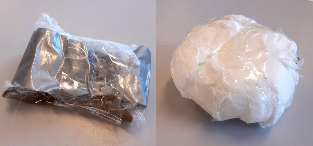 Materialer pakket sammen i en klump, viklet ind i plast og tape.