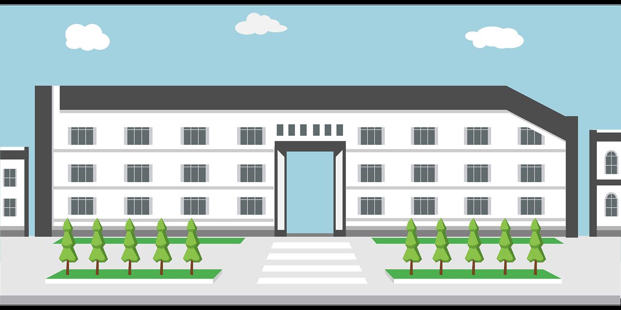 Tegning af en stor skole