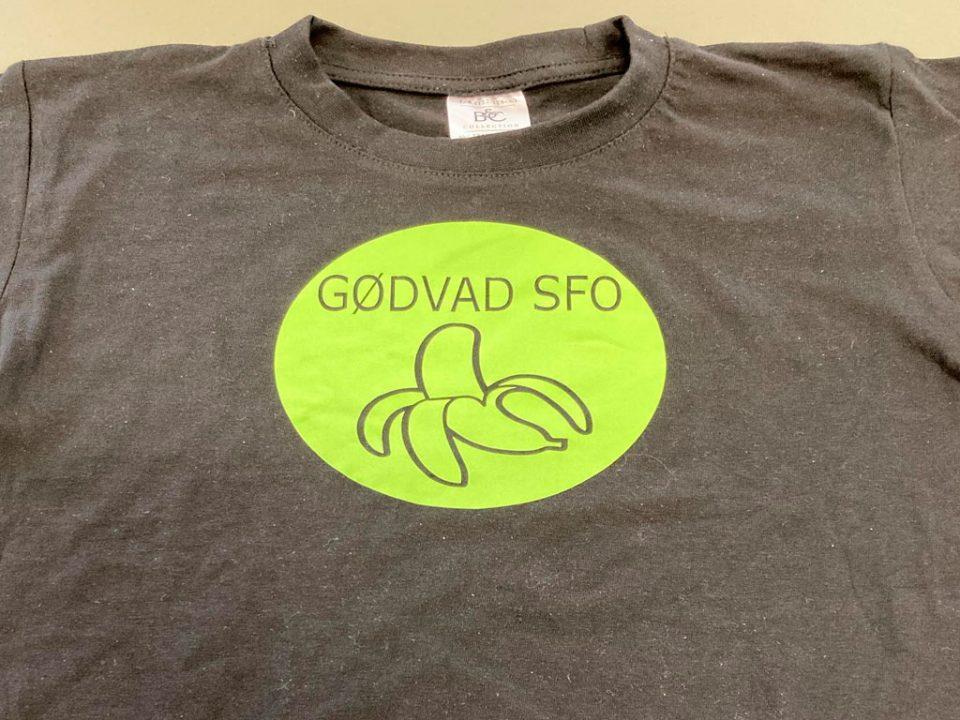 T-shirt med grønt logo af banan