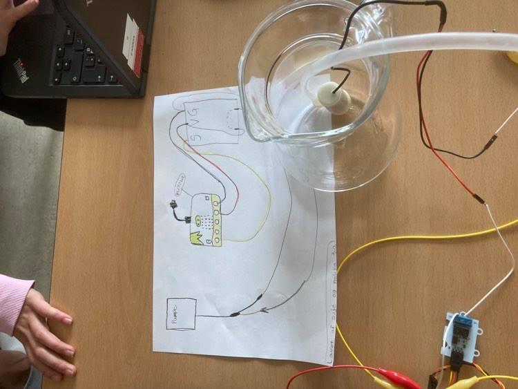 Skitse af kredsløb. Elektroder på bord og en vandkande.