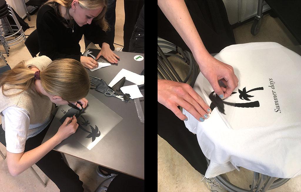 unge i gang med at lave logoer til t-shirts