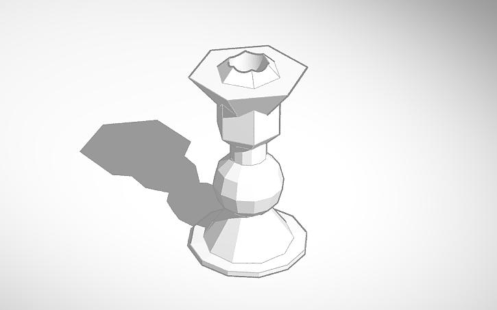 3D tegning af en lysestage lavet i programmet TinkerCad